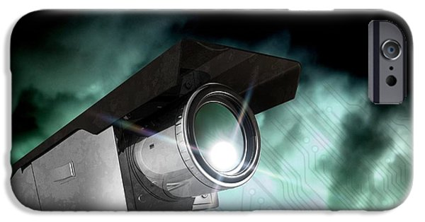 Police iPhone Cases - Surveillance, Conceptual Image iPhone Case by Victor Habbick Visions