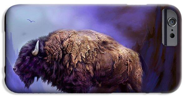 Bison Art iPhone Cases - Survivor iPhone Case by Carol Cavalaris