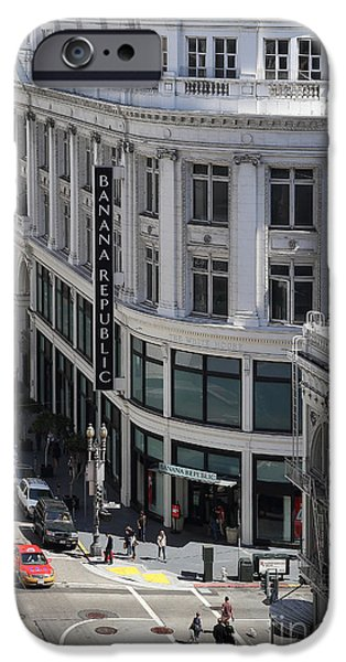 Union Square iPhone Cases - Sutter Street East View iPhone Case by Wingsdomain Art and Photography