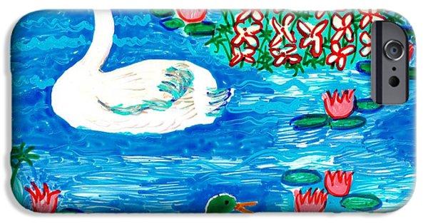 Sue Burgess Ceramics iPhone Cases - Swan and duck iPhone Case by Sushila Burgess