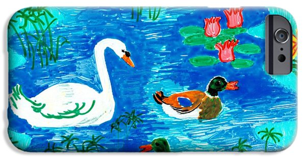 Sue Burgess Ceramics iPhone Cases - Swan and two ducks iPhone Case by Sushila Burgess