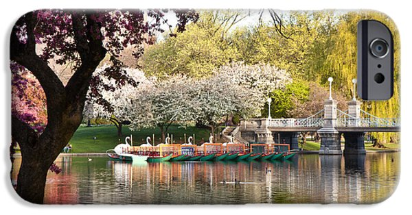 Back Bay iPhone Cases - Swan Boats with Apple Blossoms iPhone Case by Susan Cole Kelly
