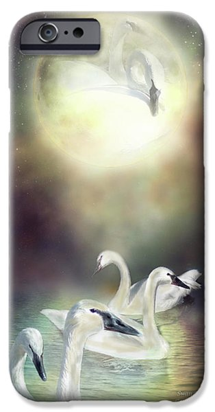 Swan iPhone Cases - Swan Dreams iPhone Case by Carol Cavalaris