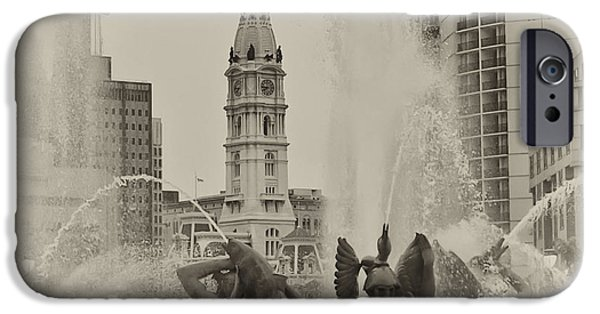 Franklin iPhone Cases - Swann Memorial Fountain in Sepia iPhone Case by Bill Cannon