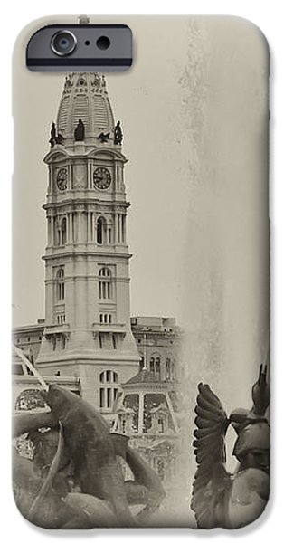 Swann Memorial Fountain in Sepia iPhone Case by Bill Cannon