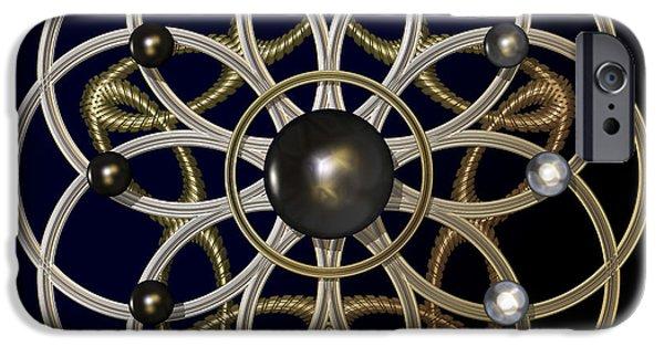 Jewellery Digital Art iPhone Cases - Swirly Brooch iPhone Case by Hakon Soreide