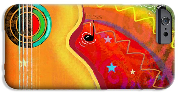Note iPhone Cases - SXSW Musical Guitar fantasy painting print iPhone Case by Svetlana Novikova