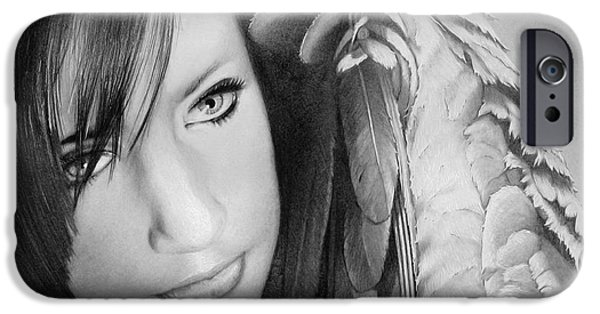 Pencil Portrait Drawings iPhone Cases - Symphony iPhone Case by Tim Dangaran