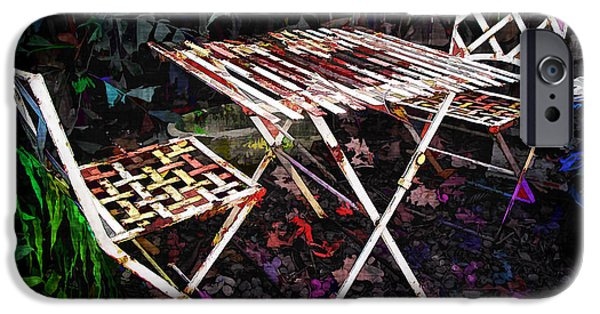Patio Table And Chairs iPhone Cases - Table and Chairs iPhone Case by Joan  Minchak