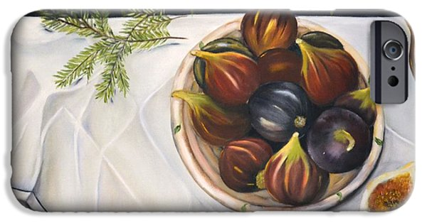 White Cloth iPhone Cases - Table with Figs iPhone Case by Carol Sweetwood