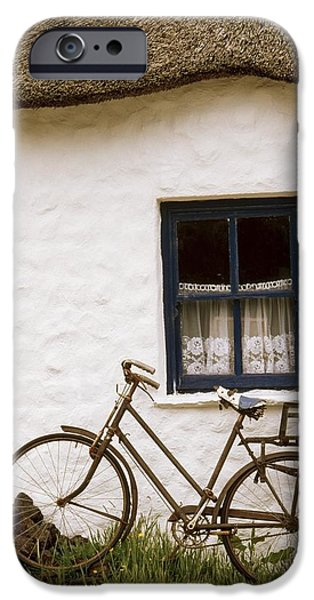 Cummins iPhone Cases - Tahtched Cottage And Bike iPhone Case by Richard Cummins