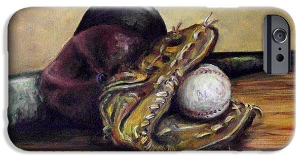 Baseball Glove Paintings iPhone Cases - Take Me Out to the Ball Game iPhone Case by Deborah Smith