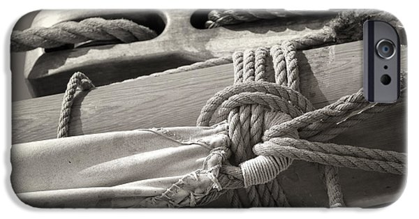 Tall Ship iPhone Cases - Tall Ship Sail Cloth Sepia iPhone Case by Dapixara Art