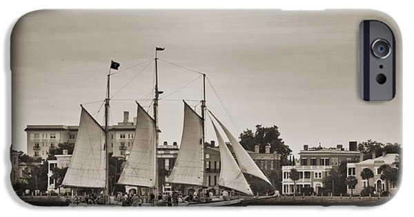 Tall Ship iPhone Cases - Tall Ship Schooner Pride off the Historic Charleston Battery iPhone Case by Dustin K Ryan