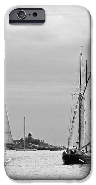 Tall Ships Sailing I in black and white iPhone Case by Suzanne Gaff