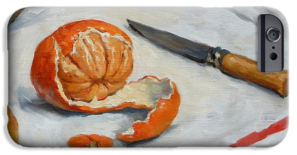 Water Jars Paintings iPhone Cases - Tangerine And Knife iPhone Case by Thor Wickstrom