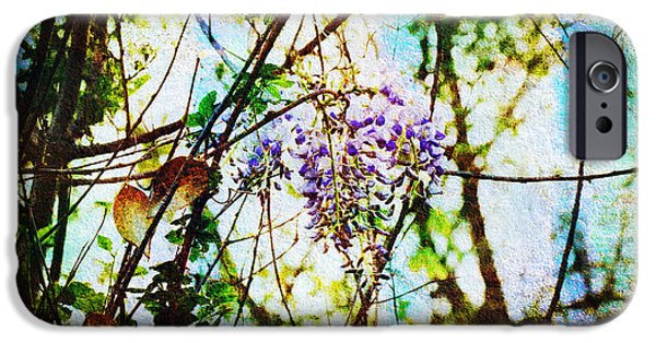 Flora Mixed Media iPhone Cases - Tangled Wisteria iPhone Case by Andee Design