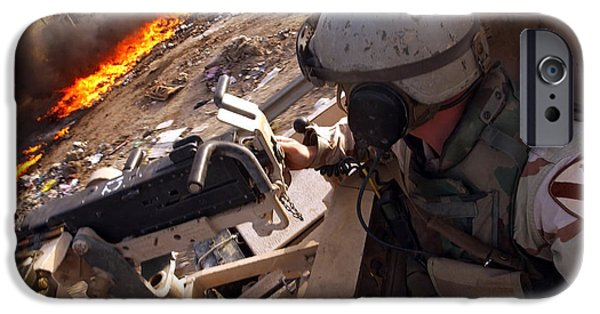 Baghdad iPhone Cases - Tank Commander Scans The Trash Covered iPhone Case by Stocktrek Images