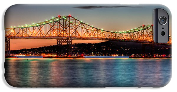 Hudson River iPhone Cases - Tappan Zee Bridge Twilight I iPhone Case by Clarence Holmes