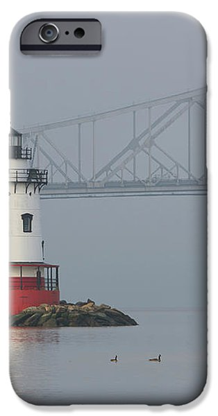 Tarrytown Lighthouse and Tappan Zee Bridge I iPhone Case by Clarence Holmes