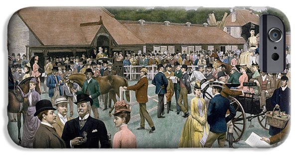 Horse Racing iPhone Cases - Tattersalls Newmarket pub iPhone Case by Isaac J Cullin and I P Mendoza
