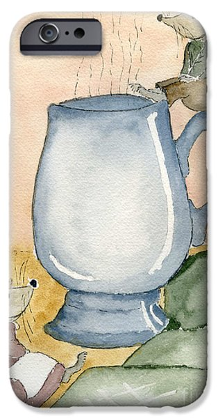 Wild Life Drawings iPhone Cases - Tea for Two iPhone Case by Eva Ason