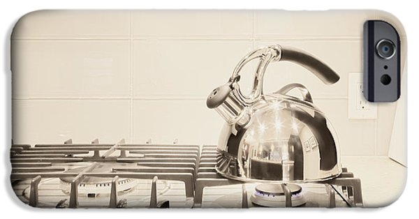 Stainless Steel iPhone Cases - Tea Kettle on Stove iPhone Case by Andersen Ross