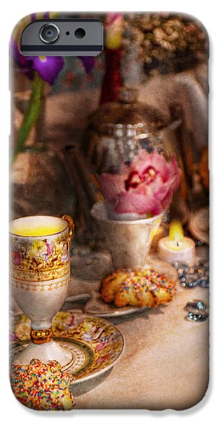 Tea Party - The magic of a tea party  iPhone Case by Mike Savad