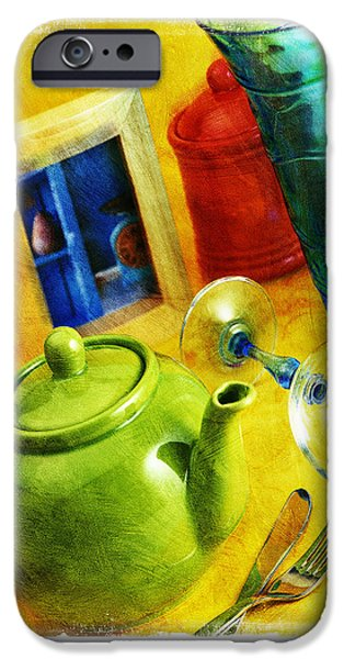 Leaning Pyrography iPhone Cases - Tea Pot iPhone Case by Mauro Celotti