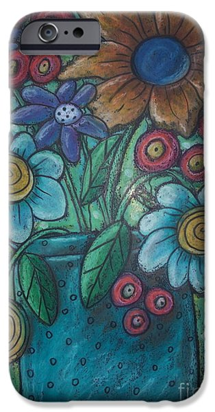 Floral Pastels iPhone Cases - Teal Pot iPhone Case by Karla Gerard