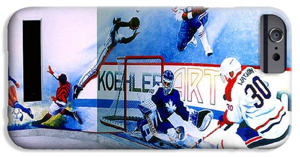 Hockey Paintings iPhone Cases - Team Sports Mural iPhone Case by Hanne Lore Koehler