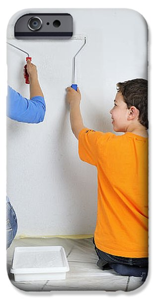 Teamwork - mother and son painting wall iPhone Case by Matthias Hauser