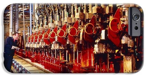 Production Line iPhone Cases - Technician Checks Production Line Of Glass Bottles iPhone Case by Victor De Schwanberg