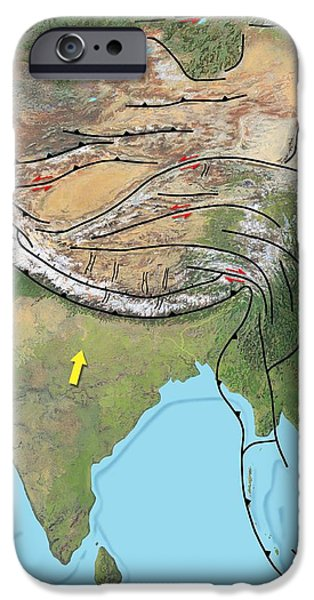 Tectonic Map Of Asia iPhone Case by Gary Hincks