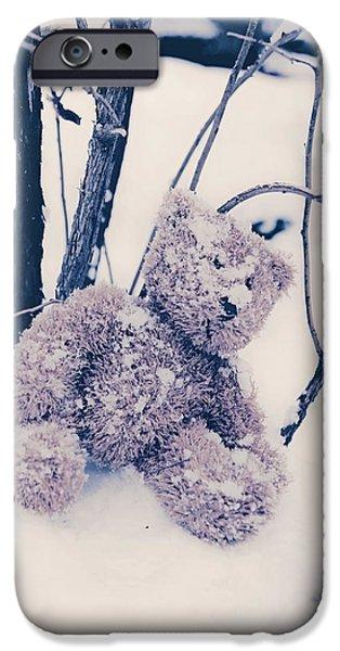 teddy in snow iPhone Case by Joana Kruse