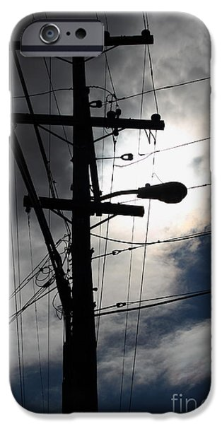 Electrical iPhone Cases - Telephone and Electric Wires and Pole in Abstract Silhouette . 7D13651 iPhone Case by Wingsdomain Art and Photography