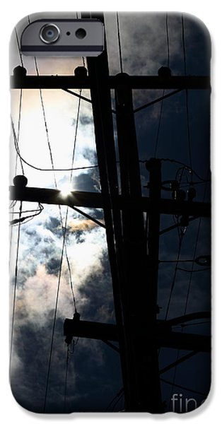 Electrical iPhone Cases - Telephone and Electric Wires and Pole in Silhouette . 7D13615 iPhone Case by Wingsdomain Art and Photography