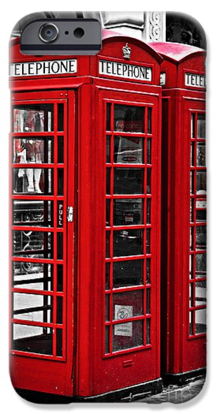 United iPhone Cases - Telephone boxes in London iPhone Case by Elena Elisseeva