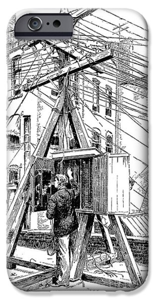 Telephone Repairman iPhone Cases - Telephone Lines, 1891 iPhone Case by Granger