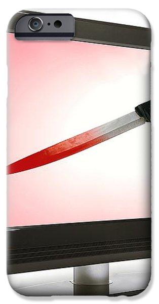 Television Violence, Conceptual Image iPhone Case by Victor De Schwanberg
