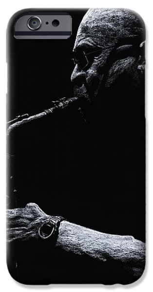 Music Pastels iPhone Cases - Temperate Sax iPhone Case by Richard Young