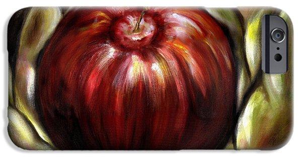 Food iPhone Cases - Temptation... Adams dilemma iPhone Case by Hiroko Sakai