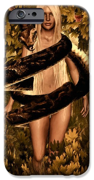 Consciousness iPhone Cases - Temptation and Fall iPhone Case by Lourry Legarde