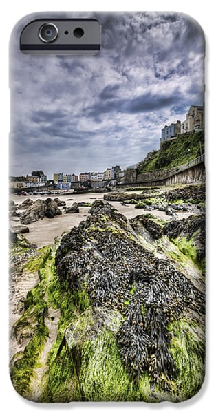 Alga iPhone Cases - Tenby Rocks 4 iPhone Case by Steve Purnell