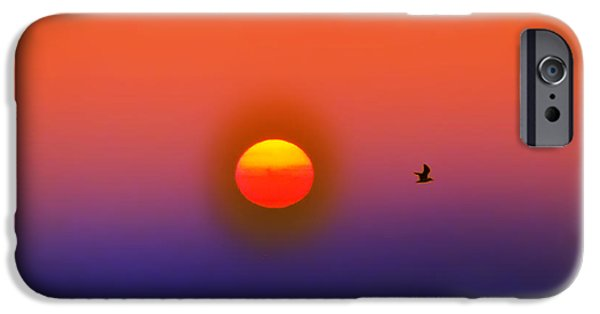 Flying Seagull Digital Art iPhone Cases - Tequila Sunrise iPhone Case by Bill Cannon