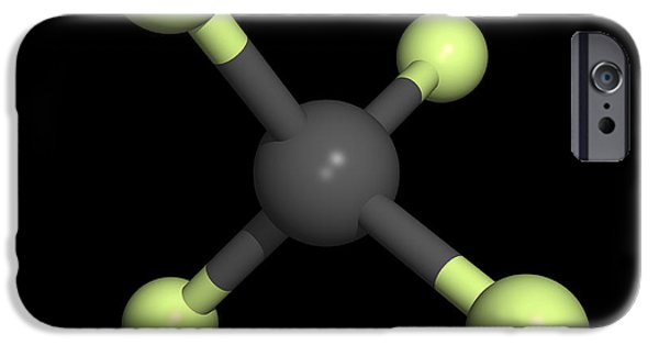 Pollutant iPhone Cases - Tetrafluoromethane Molecule iPhone Case by Friedrich Saurer