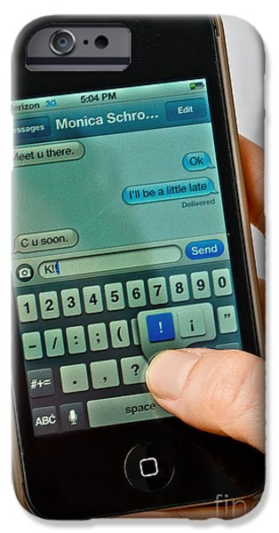 Texting On An Iphone iPhone Case by Photo Researchers