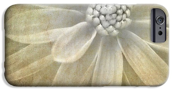 Abstract Flowers iPhone Cases - Textured Dahlia iPhone Case by Meirion Matthias