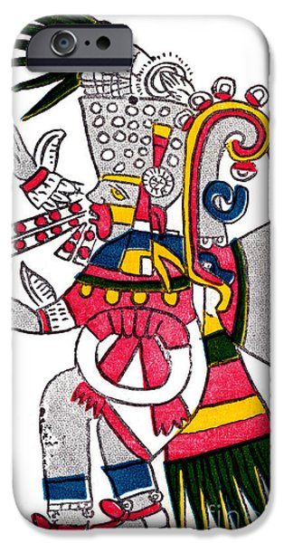 Art By God iPhone Cases - Tezcatlipoca, Aztec God Of Night, Codex iPhone Case by Photo Researchers