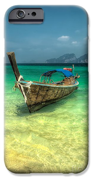 Coastline Digital Art iPhone Cases - Thai Longboat  iPhone Case by Adrian Evans